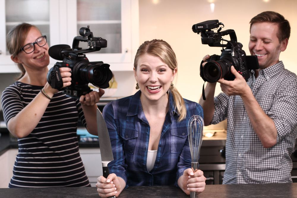 BTS Alyssa Gagarin, Eric Mann, & Kaia Rose on set of her cooking show