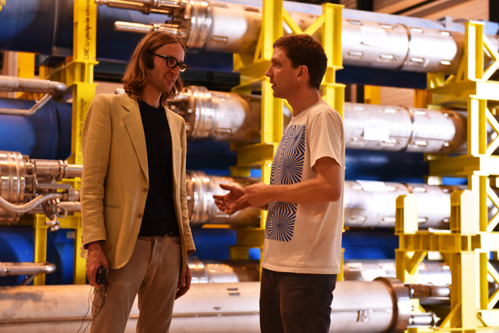 Deerhoof guitarist John Dieterich with ATLAS physicist James Beacham (Image: Marine Bass/CERN)