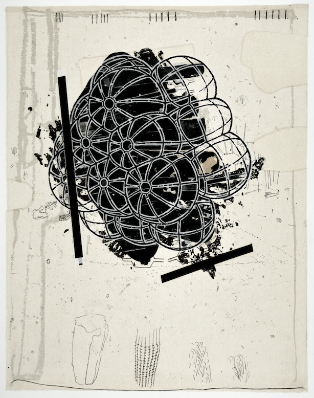 """Lament of an Icarus IV  28"""" x 18""""  litho, screen and chine colle"""