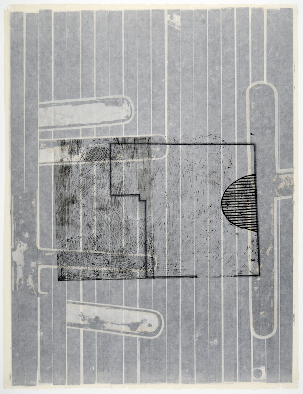 "Gebäudeplan I  28"" x 18""  offest relief, litho, monotype, screen and chine colle"