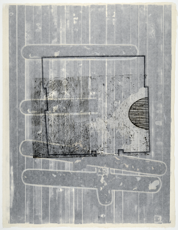 """Gebäudeplan V  28"""" x 18""""  offset relief, litho, monotype,screen and chine colle"""