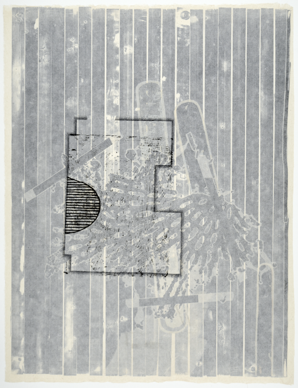 """Gebäudeplan III  28"""" x 18""""  offest relief, litho, monotype,screen and chine colle"""