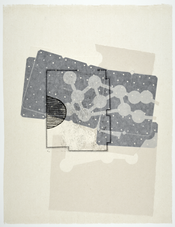 """Gebäudeplan VIII  28"""" x 18""""  offset relief, litho, monotype and chine colle"""