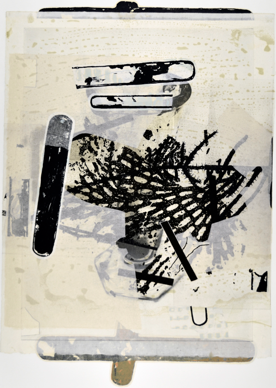 """Mistaken in Charleviox II  29"""" x 18""""  litho,screen and chine colle"""