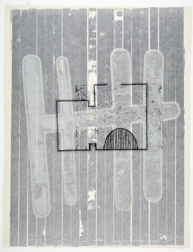 "Gebäudeplan VII  28"" x 18""  offset relief, litho, monotype, screen and chine colle"
