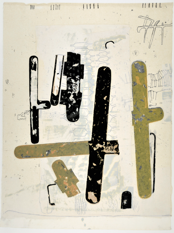 """Mistaken in Charleviox III  29"""" x 18""""  litho,screen and chine colle"""