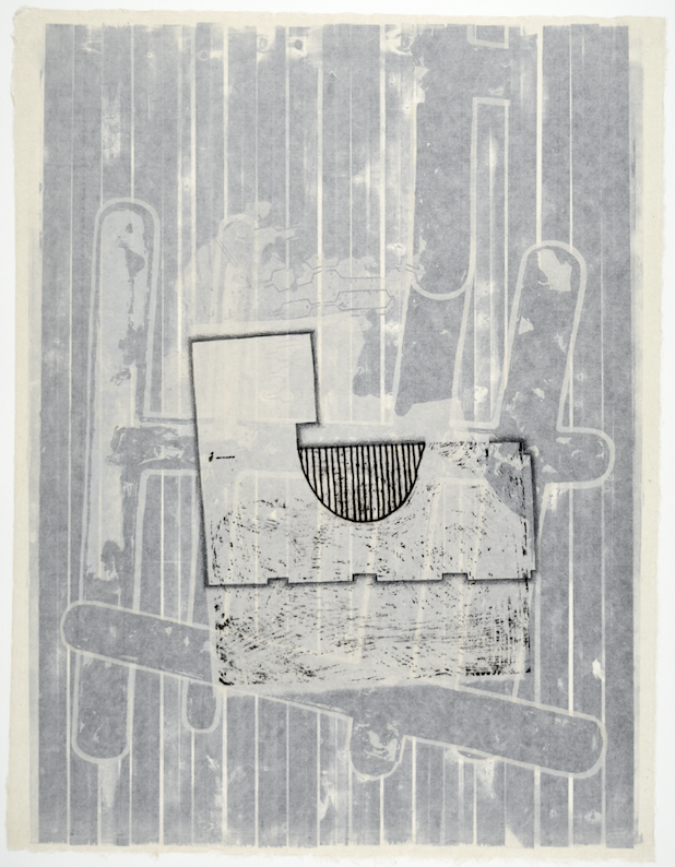 """Gebäudeplan VI  28"""" x 18""""  offset relief, litho, monotype,screen and chine colle"""