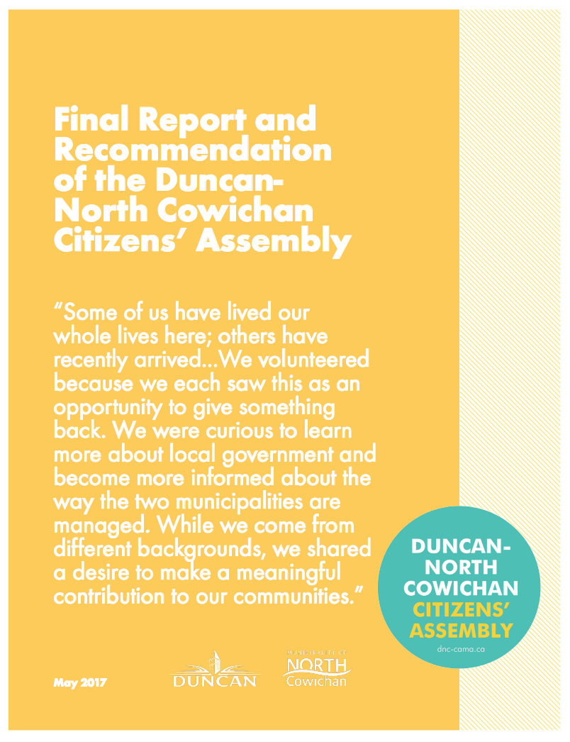 The Duncan-North Cowichan Citizens' Assembly on Municipal Amalgamation (2017)
