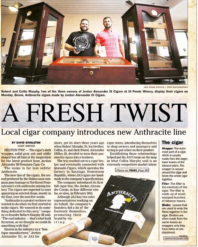 Great local coverage of the #JA3Cigars newest release, Anthracite. Read more at thetimes-tribune.com/news/business/local-cigar-company-introduces-new-anthracite-line #cigar #cigars #cigarlife #jordanalexanderiii #cigarnews #botl #nepa #scranton #scrantontimes #cigarsociety
