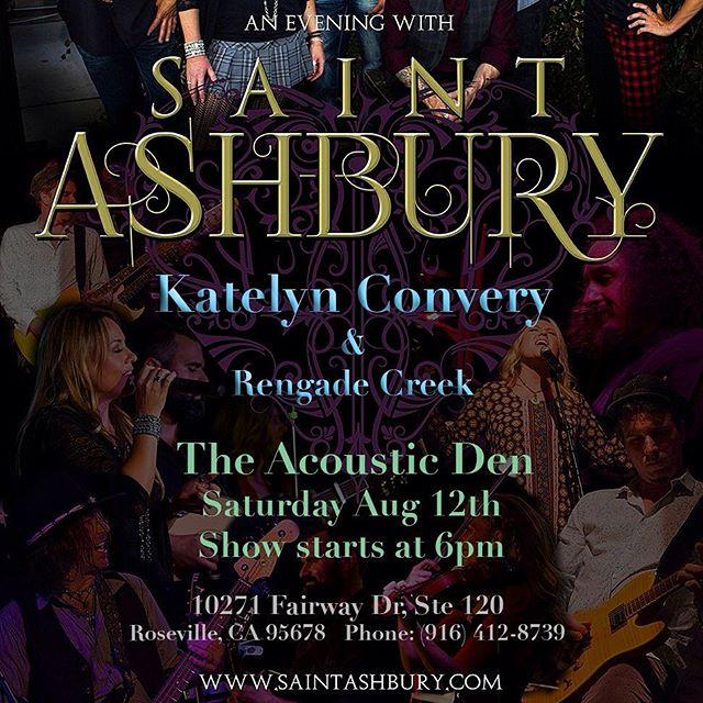 Tonight! Saturday August 12th. #theacousticdencafe #acousticmusic #saintashbury #katelynconvery #rosevilleca