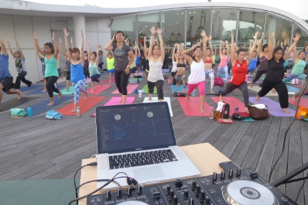 Outdoor yoga at Re-volution with space & Light studios