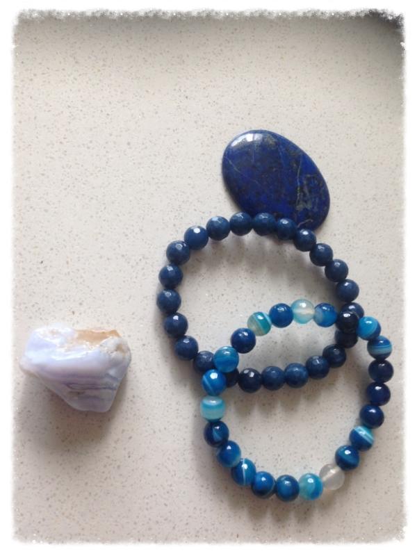 My favourite blue crystals! From Left, Blue Lace Agate, Lapis Lazuli, Sapphire bracelet, Blue Agate bracelet.