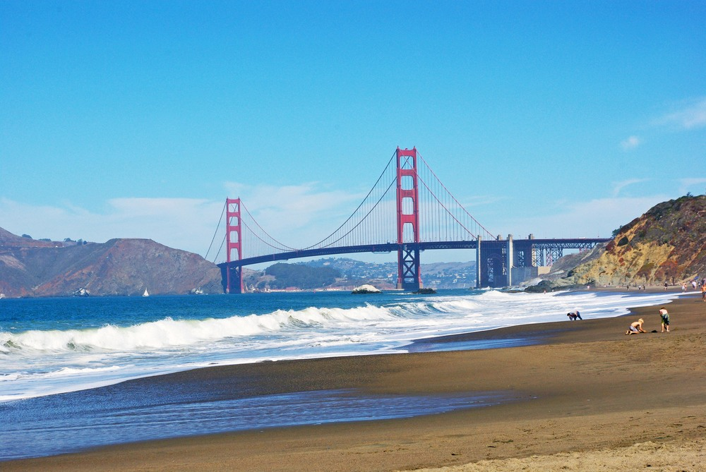 15.	Relax along Baker beach for a great view of the GGB