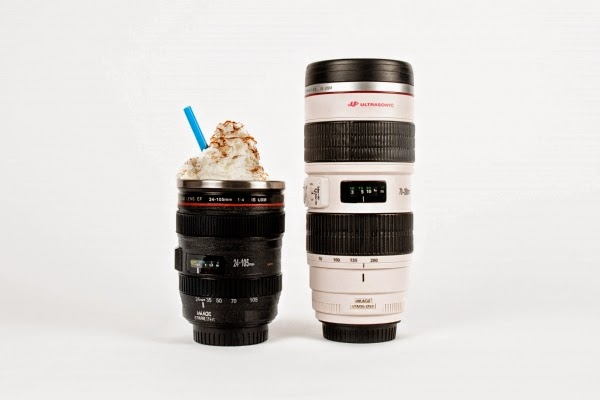 "4.      Mug  ($24 - $30)   Need some caffeine at your next early morning photo-shoot? Look no further than your camera bag. These "" Canon "" and "" Nikon "" branded lenses look real, and even have moving buttons for fun! Whatever you do, just make sure you don't pour your coffee into your actual lens!"