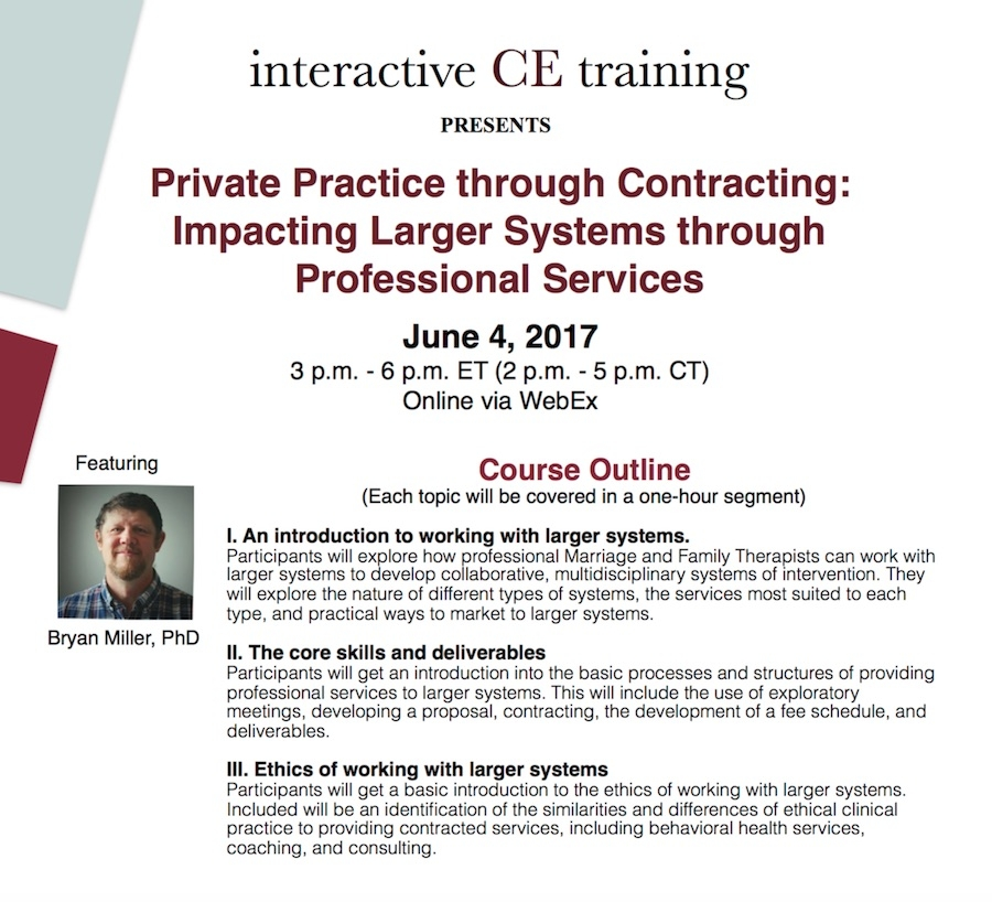 Approved for 3 CEU credits by NBCC and the KY LMFT board. Includes 1 hour of Ethics.