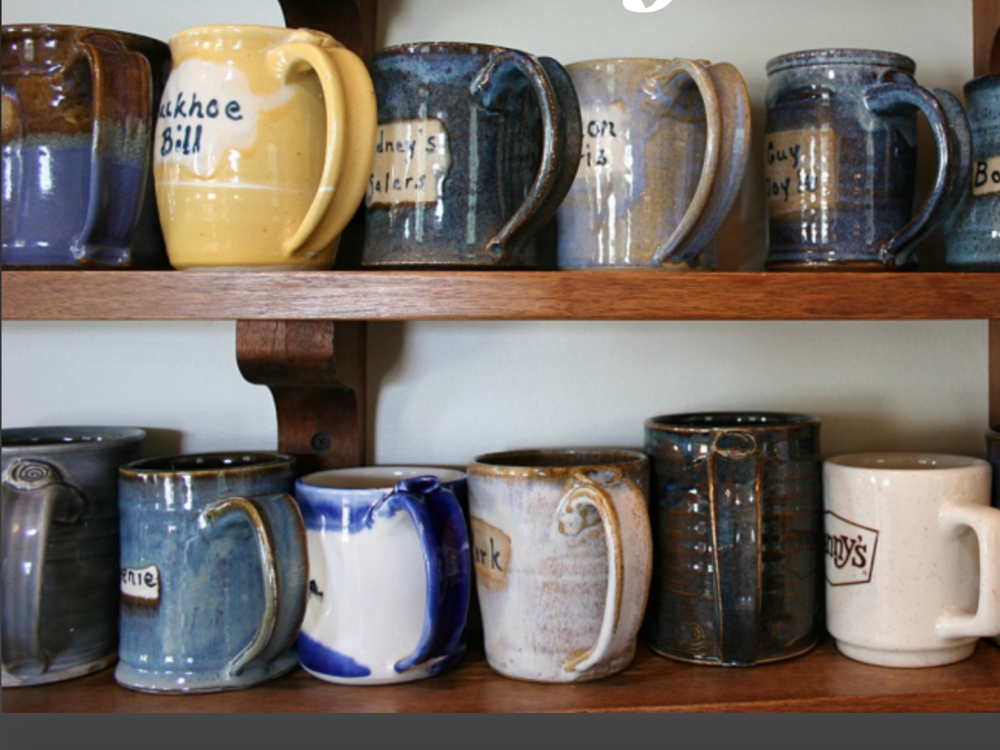 Coffee club mugs. Each personally crafted for the customer. I think we we came away with 6 or 7 ourselves.
