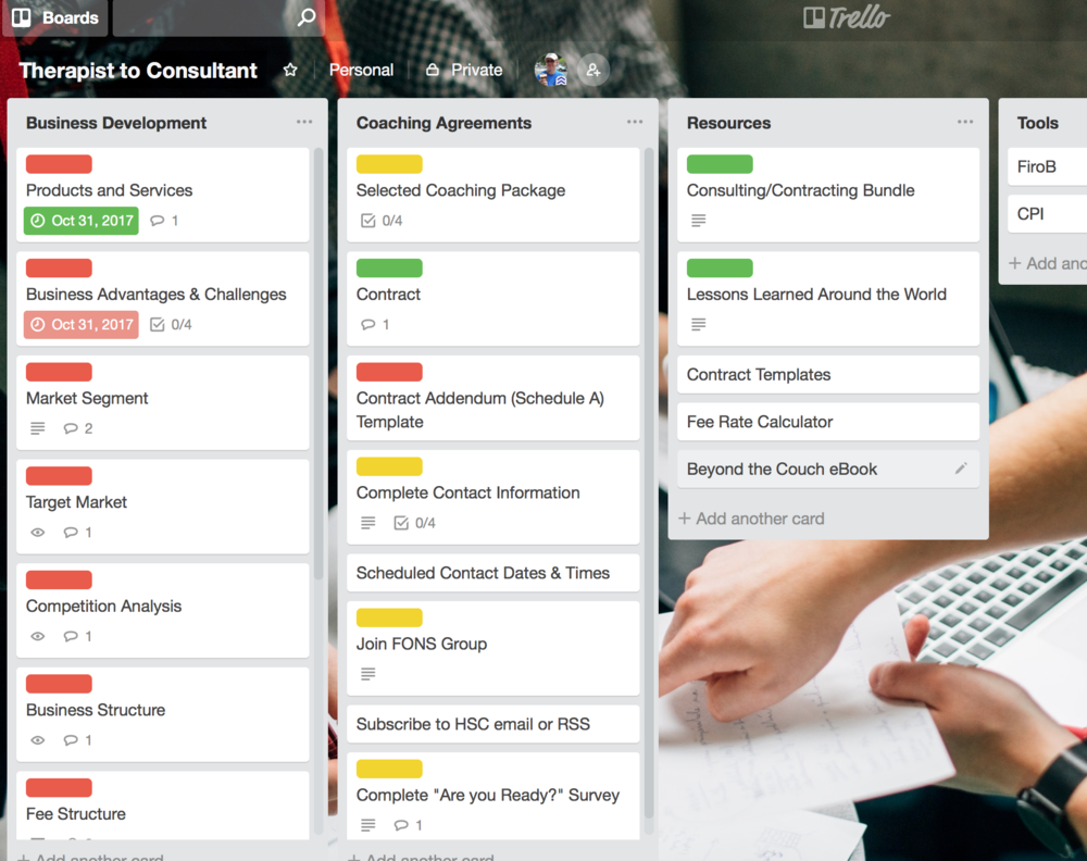 "We set up a special Trello Board (see above) tailored to each professional. The professional has access to this ""Board""  and the career development tools, resources, sample contracts . . . everything we have developed through our teaching, training, contracting and consulting for more than 20 years."