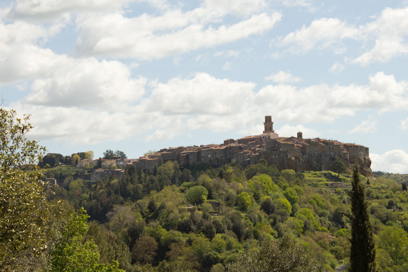 Pitigliano sits high above the surrounding countryside.