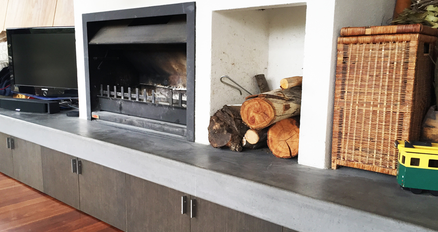 CONCRETE FIREPLACES & BENCHTOPS