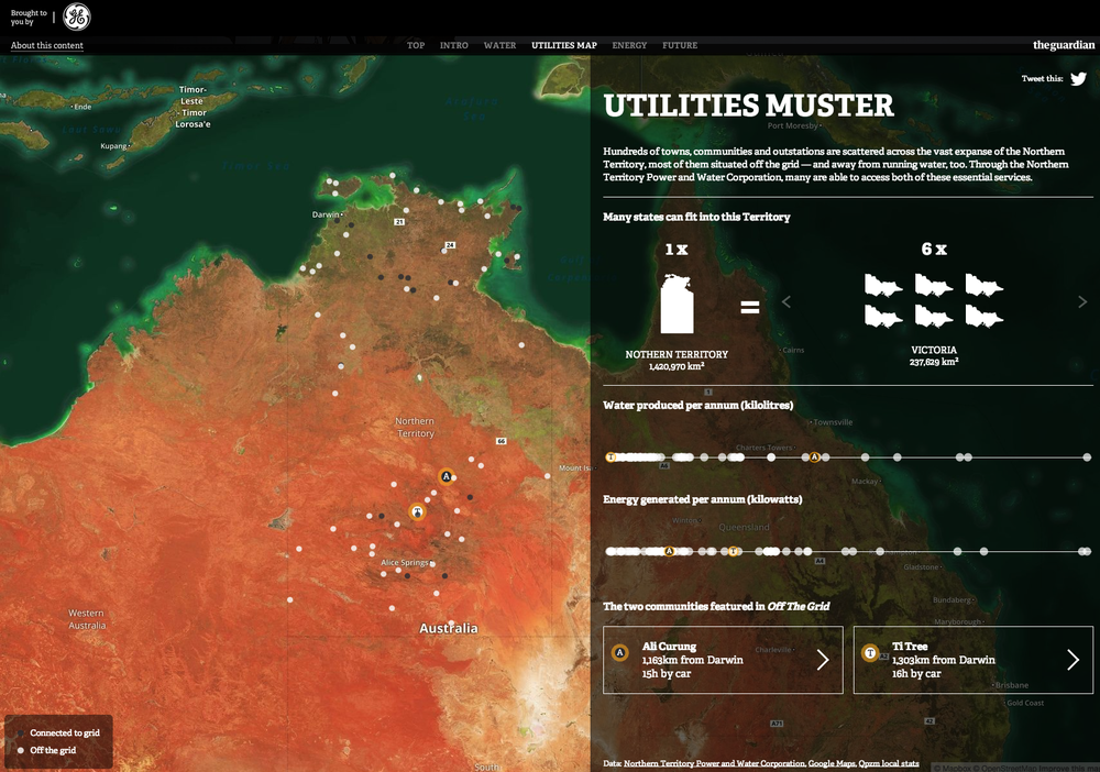 Mapping the widespread off-the-grid delivery of power and water to Northern Territory towns and communities Utilities Muster Link