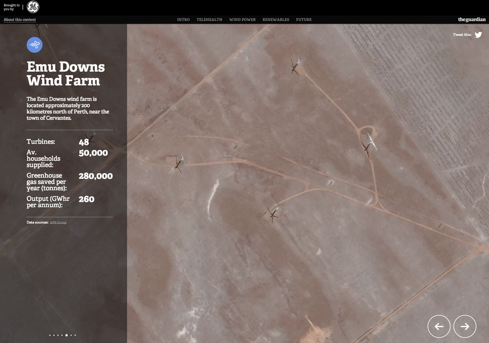 Give the audience a real sense of scale and place using satellite imagery. Link