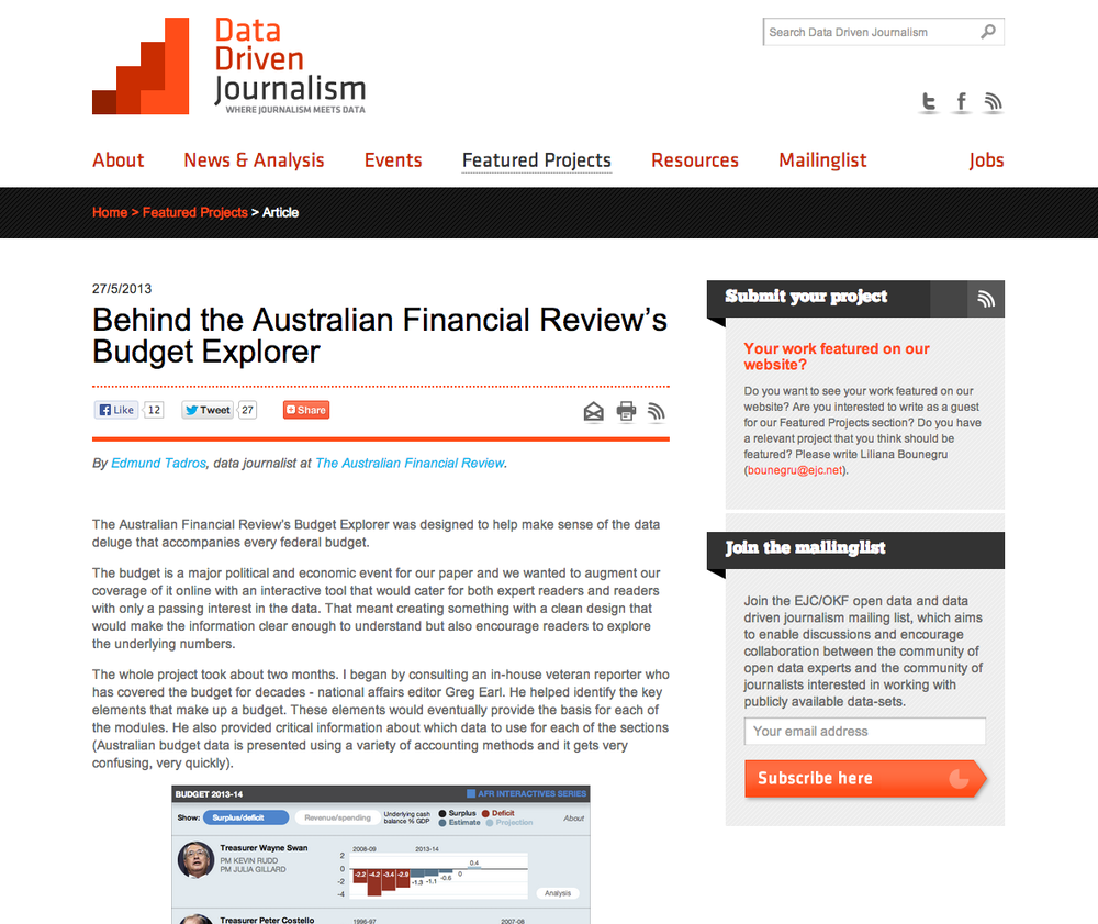 Behind the Australian Financial Review's Budget Explorer Featured project on Data Driven Journalism