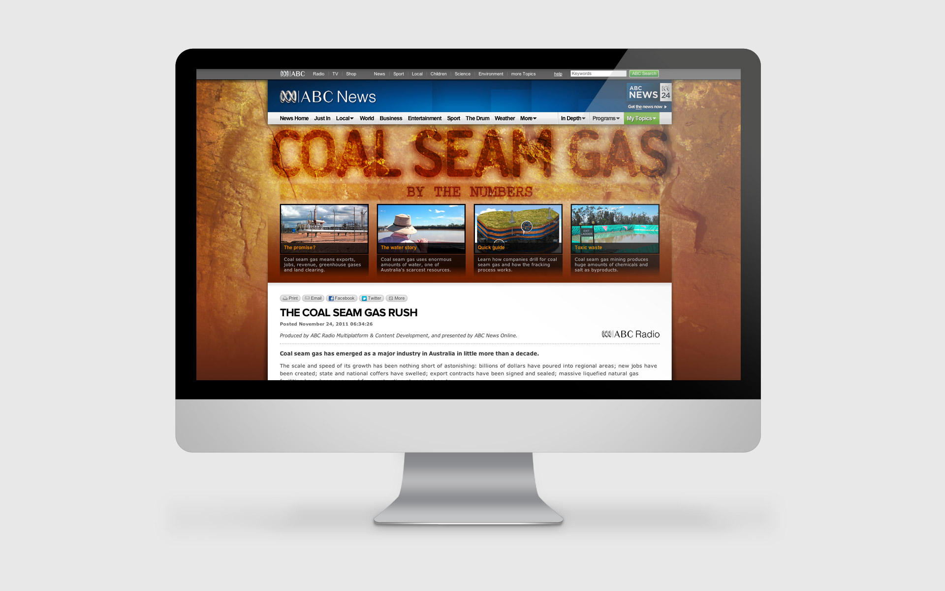 ABC News Online's Coal Seam Gas Special Small Multiples was only one part of the huge team that brought together the coal seam gas special.