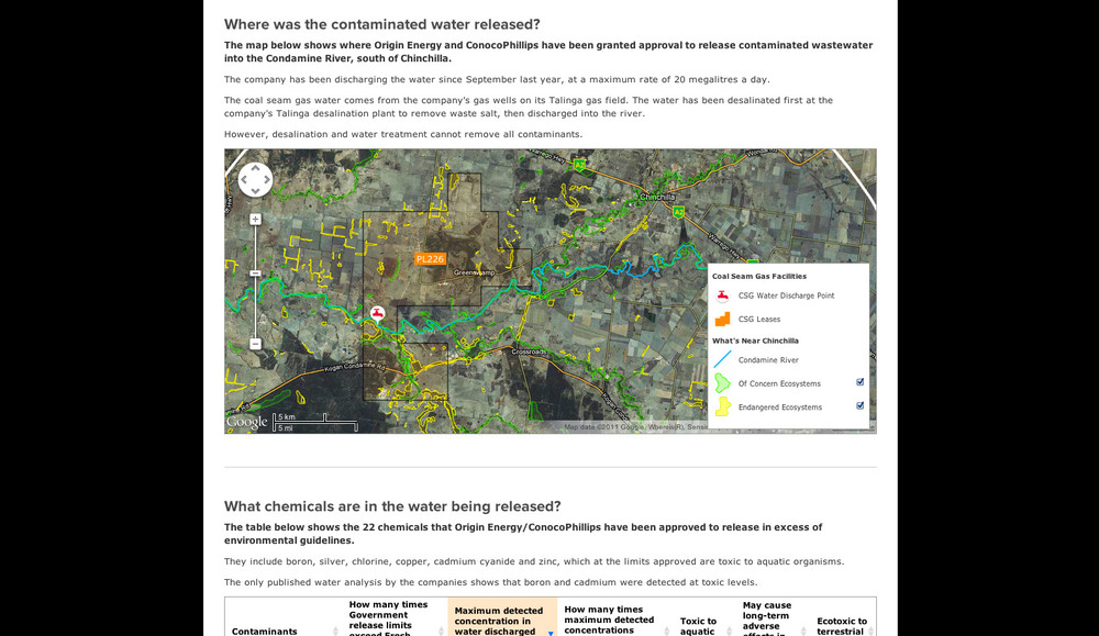 Special Chinchilla Case Study Data found not only helps tell a bigger picture story, but also smaller stories, like this case study of the Chinchilla area. We were able to plot coal seam gas features and land features to highlight their proximity.