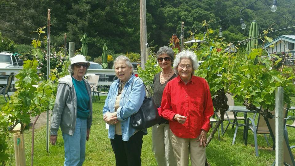 The ladies of The Manse On Marsh enjoy a photo opp at Kelsey See Canyon Vineyards.