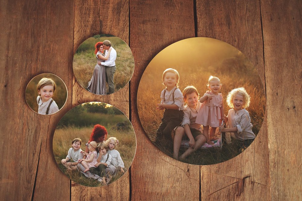 wooden hand crafted photo block set