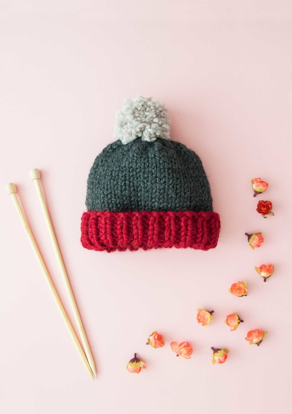 Super Chunky Easy Bobble Hat Knitting Pattern