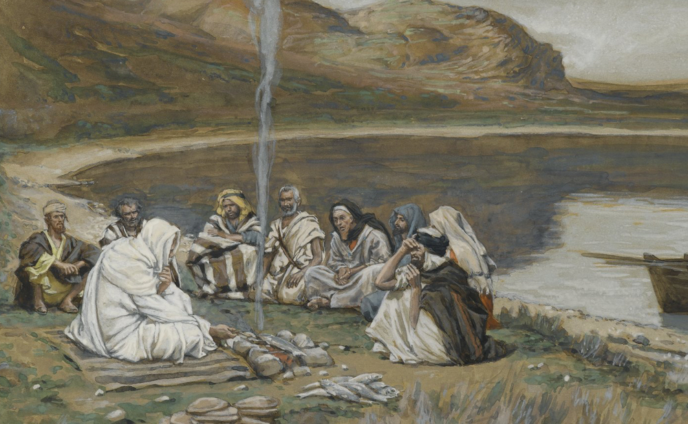 James Tissot (French, 1836-1902). Meal of Our Lord and the Apostles (Repas de Notre-Seigneur et des apôtres), 1886-1894. Opaque watercolor over graphite on gray wove paper, Image: 5 15/16 x 9 5/16 in. (15.1 x 23.7 cm). SOURCE:   Brooklyn Museum ,  00.159.346