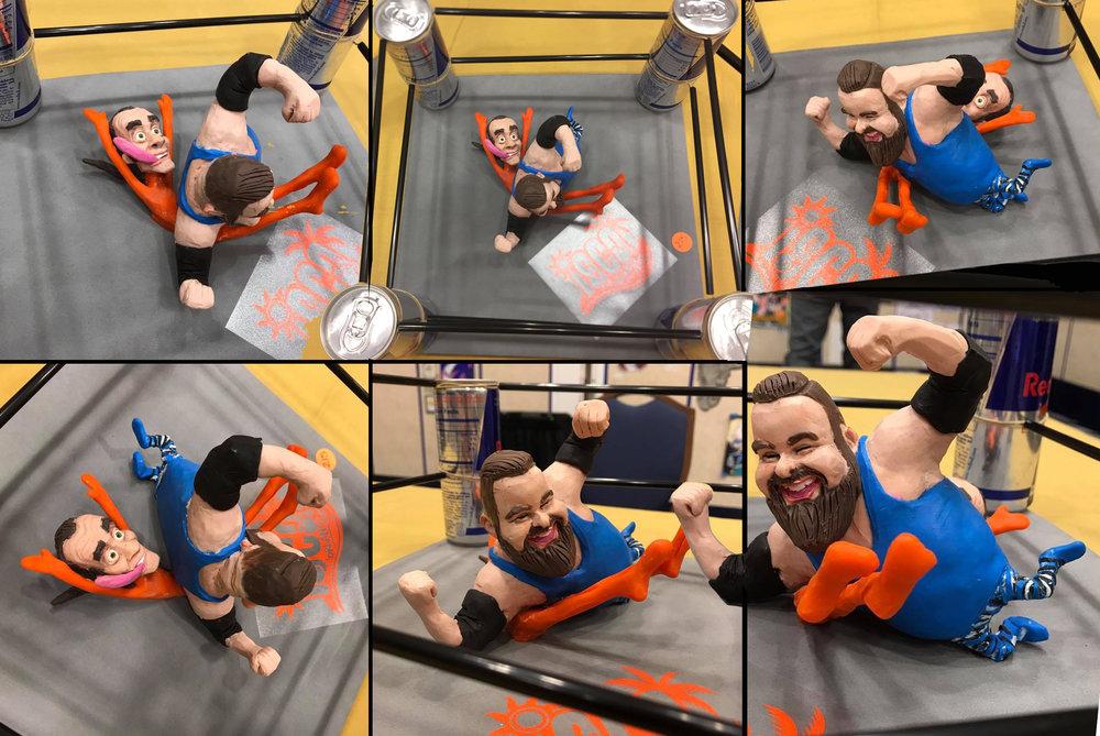 Die Wrestler im RedBull Ring! Elastoman meint ja, es wär' ein eindeutiges UNENTSCHIEDEN!