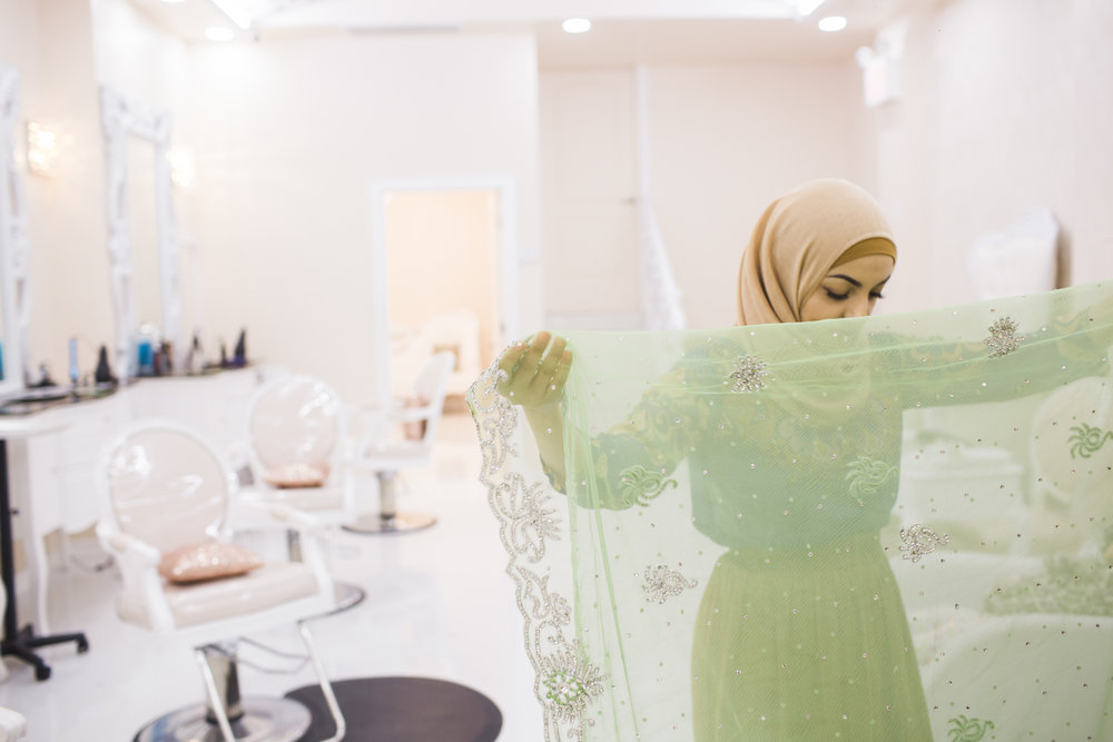 Huda Quhshi at her Hijabi salon, Le'Jemalik in Bay Ridge, Brooklyn, NY.