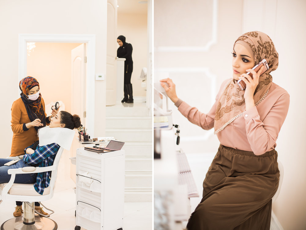 Left: Huda Quhshi doing makeup for a wedding party at her salon, Le'Jemalik in Bay Ridge, Brooklyn.  Right: Huda Quhshi on the phone with a client at her salon, Le'Jemalik, in Bay Ridge, Brooklyn.