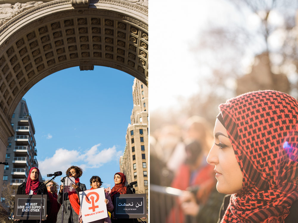 Left: Widad Indie, Rabyaah Althaibani, Althaibani's daugher and Huda Quhshi at the Day Without A Woman Strike in Washington Square Park, Manhattan, NY on March 8, 2017.  Right: Huda Quhshi. March 8, 2017, Manhattan, NY.