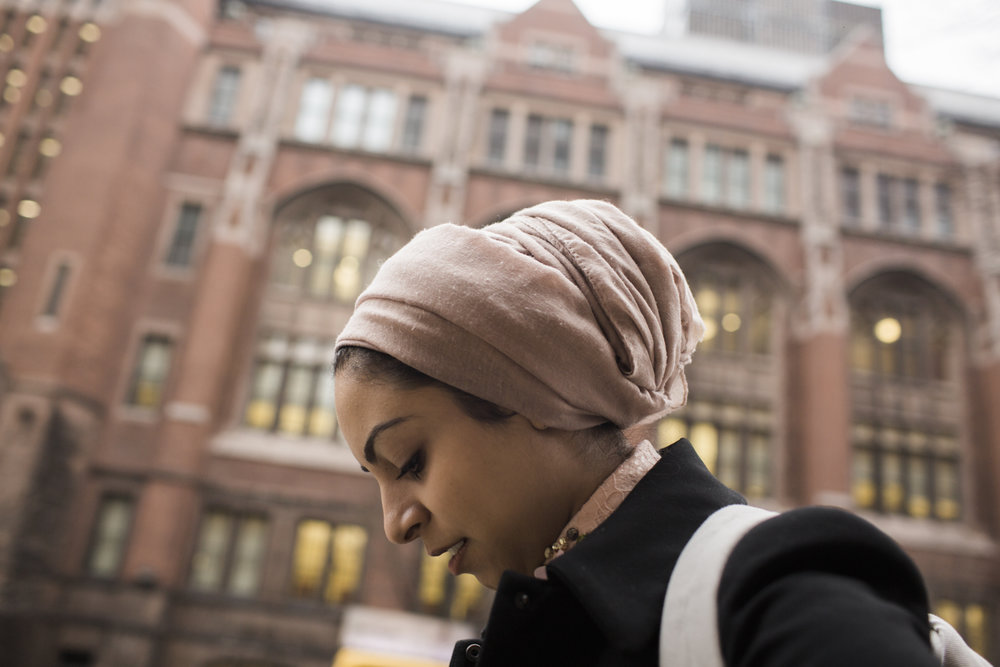 Sarah Alsaidi arrives at Teacher's College in Harlem, Manhattan, New York where she is pursuing her doctorate in psychology.