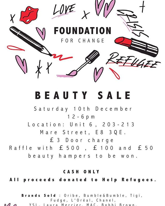 MASSIVE beauty charity sale in London tomorrow. Mac, Chanel, YSL, NArs etc  ALL HALF Price AND BELOW !!! Im gonna be there ... buying everything.