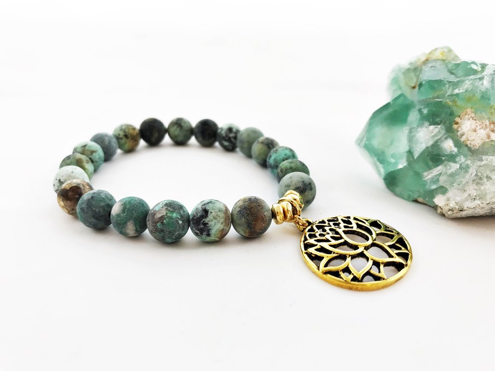 African Turquoise Jasper is a stone that awakens the soul. It provides structure, balance, prosperity, eases mood swings and encourages acceptance.