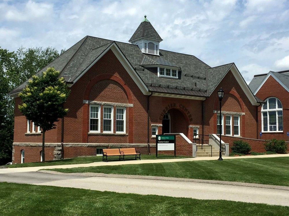 """<a style=""""pointer-events:none"""">Nichols College Currier Center</a>"""