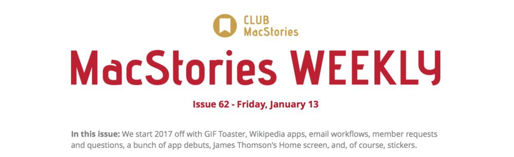 圖片截取自「MacStories」會員通訊
