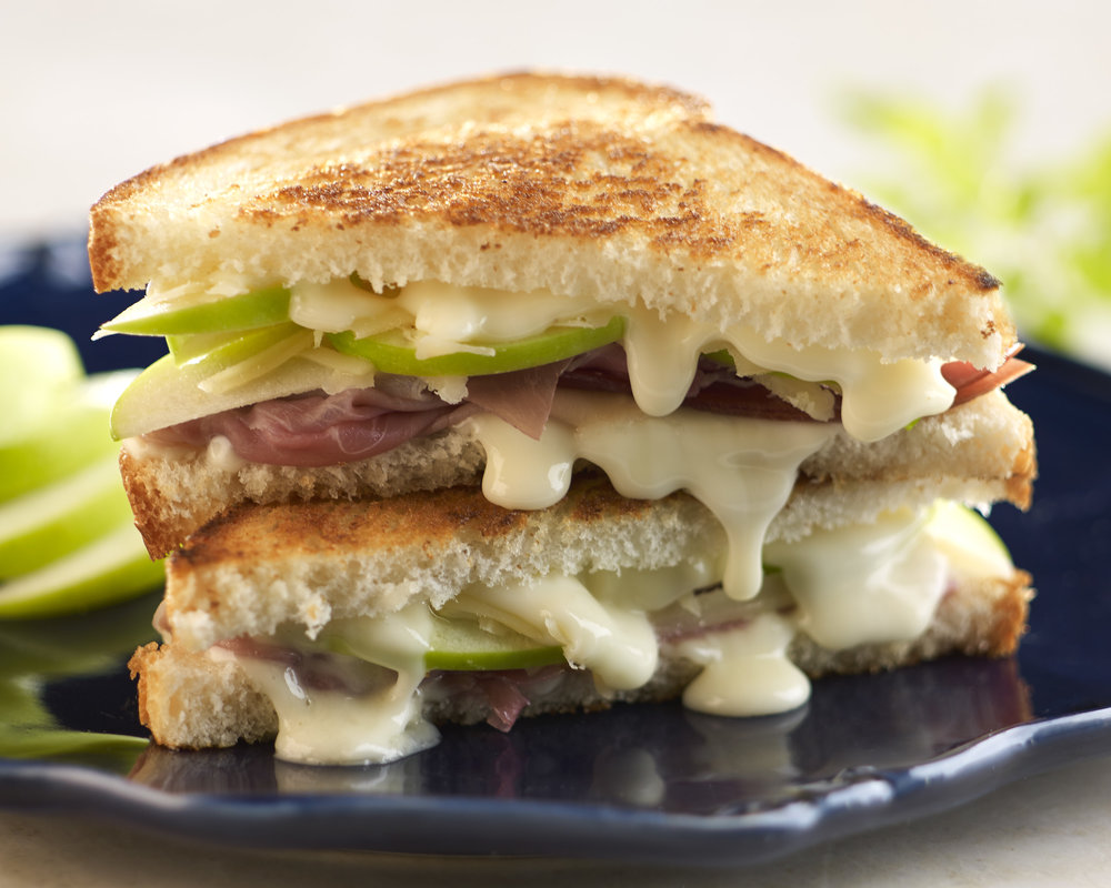 Crescenza, American Grana, Apple and Prosciutto Grilled Cheese