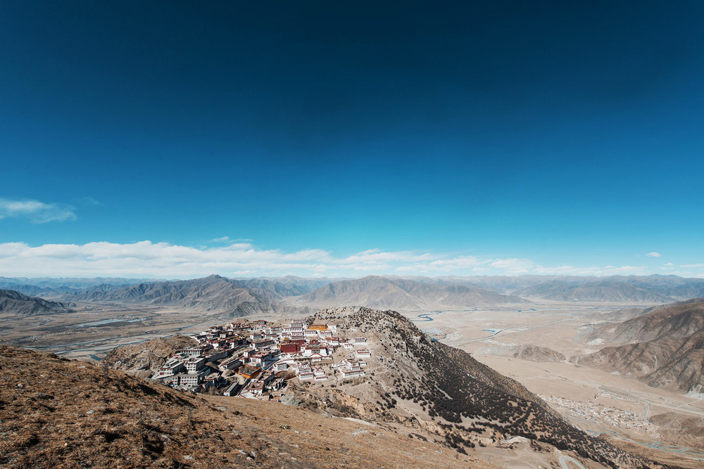 February: I'd badly sprained my ankle one week prior to this hike up the mountain to get a view of Ganden Monastery, just outside of Lhasa. I shouldn't have done it - but it's surprising how the mind can win over matter!