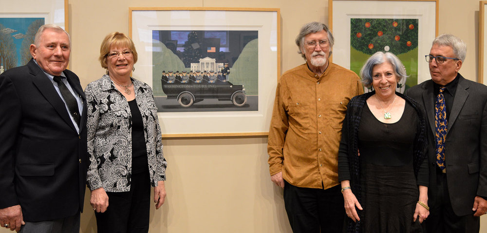 (L to R) Peter Balet, son of Jan, and his wife MArie; Dr. Sheldon Hurst, curator; Alison & Michael Paolerci, collectors, at the opening reception.