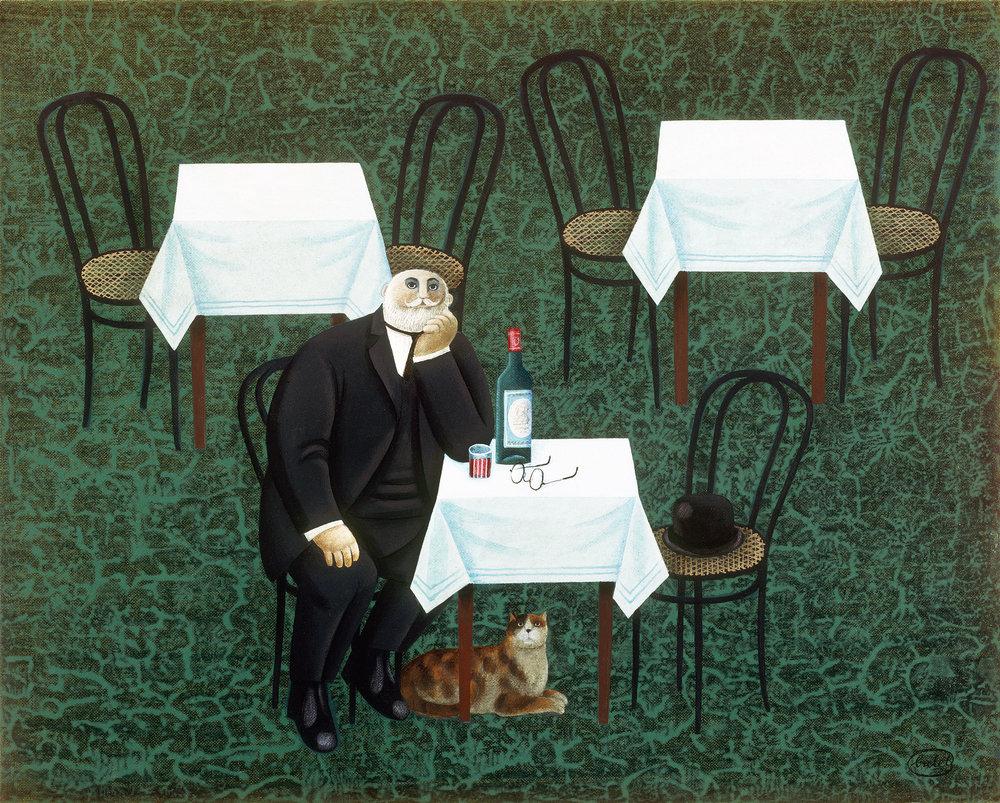 Selbstportrait mit Katze – beinahe ein (Selfportrait with Cat – almost one)