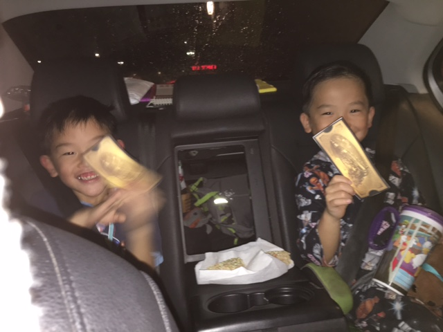 Hot chocolate, rice krispies treats and golden tickets.