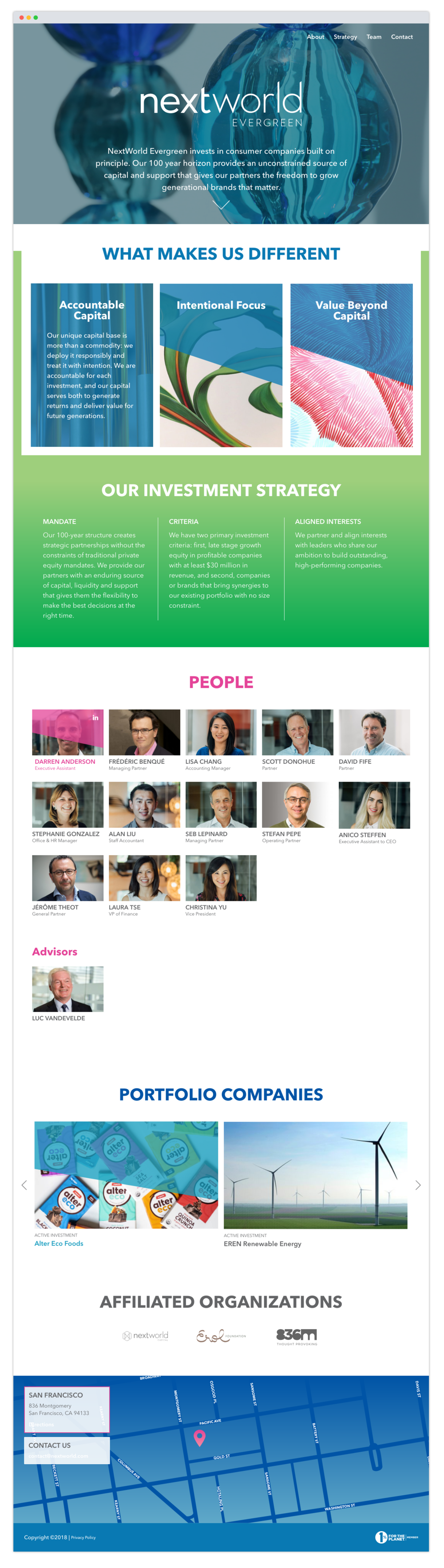 Next World Evergreen - UX, Graphic DesignNext World Evergreen is a venture capitalist firm that focuses on companies that are looking for late stage growth equity who align with their own interests. The site was inspired by artwork displayed throughout their San Francisco office.Site developed by Hunter Rose