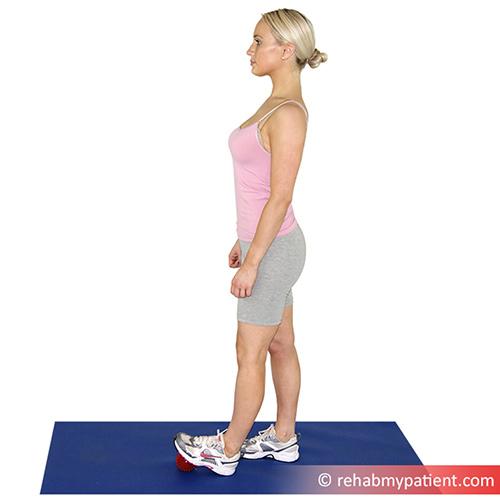 5. Spikey Ball Standing Calf Stretch