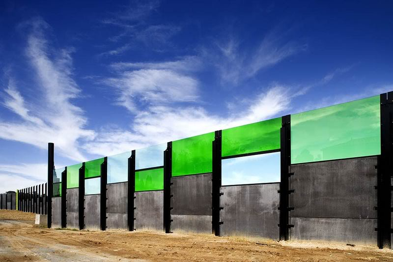 A small part of of an Australian freeway noise wall, designed as part of a larger project. Photo from:  LovesFoodAndArt.com