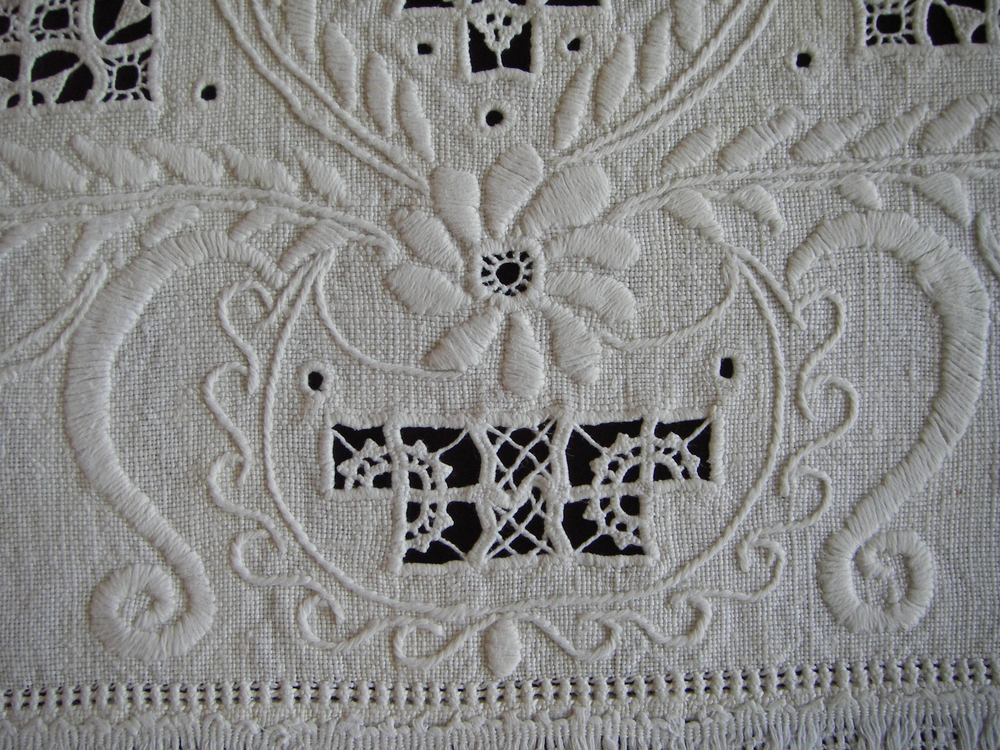 In hardanger embroidery the pattern is slightly upraised from the surface of the fabric